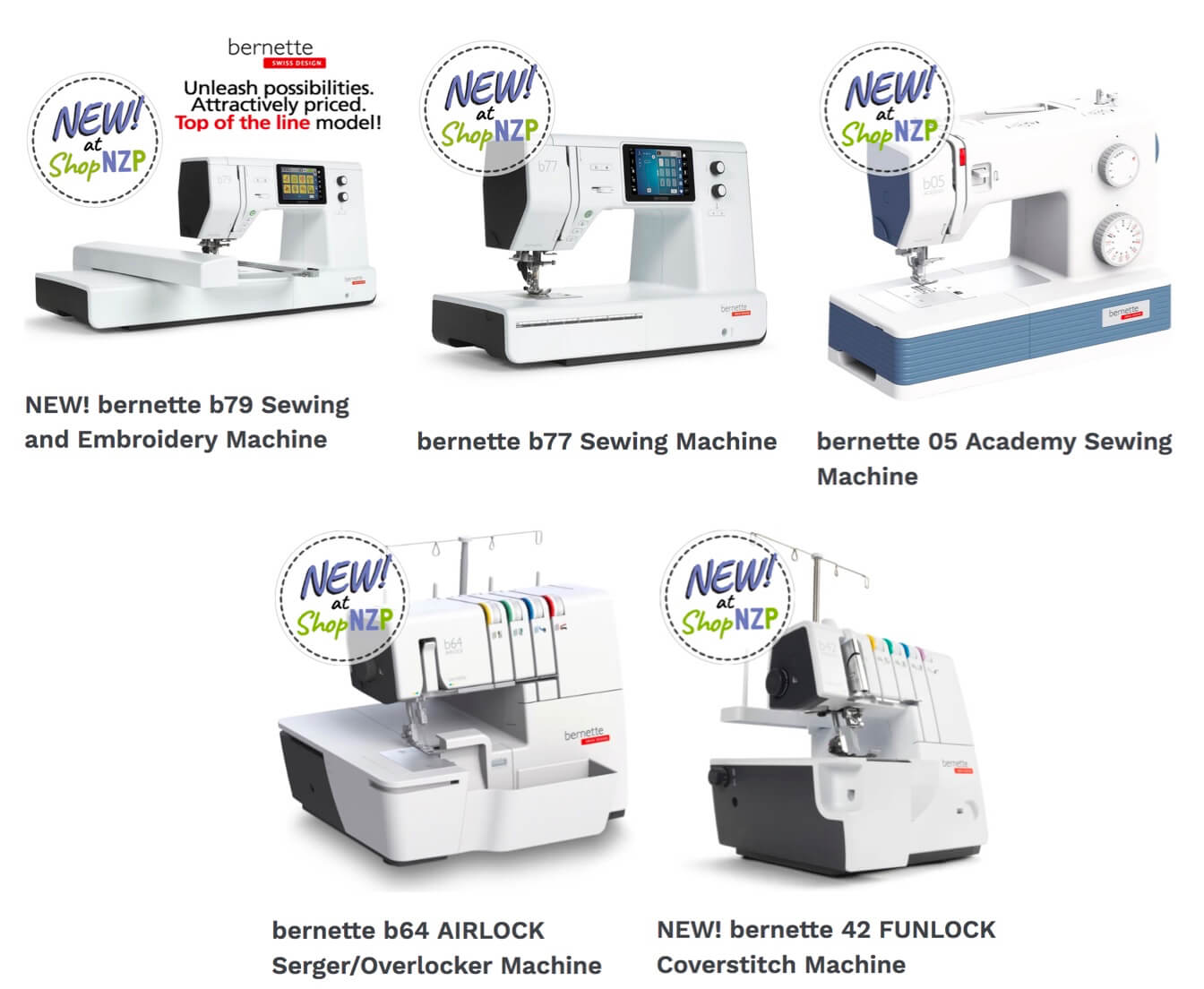 Shop NEW! bernette Sewing, Sewing & Embroidery, Serger/Overlocker and Coverstitch Machines at ShopNZP.com