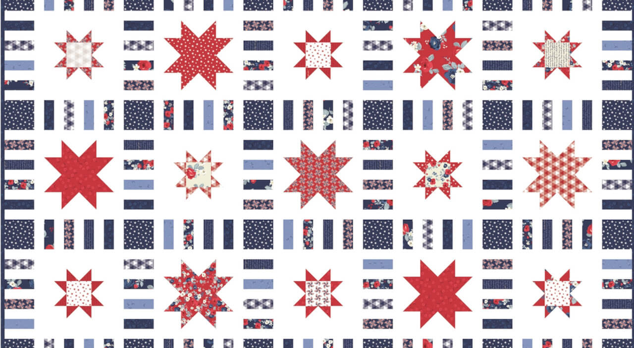 RBSSQBKT_01 Stars in Stripes Quilt Boxed Kit Land of Liberty by My Mind's Eye for Riley Blake Designs available at Nancy Zieman Productions at ShopNZP.com 1000 x 550