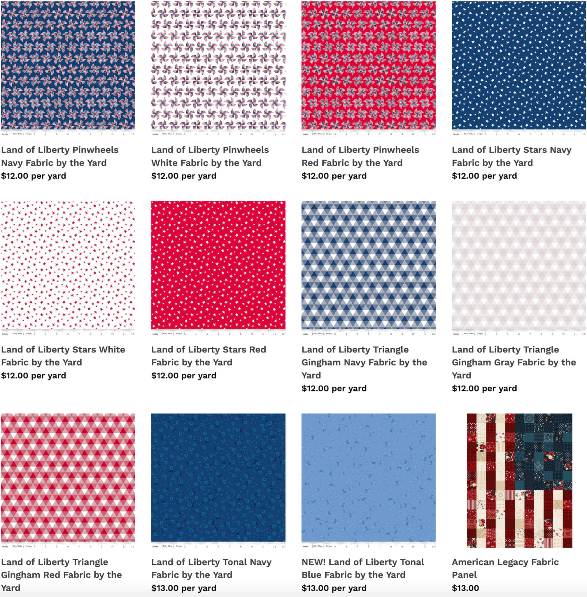 New! Land of Liberty Cotton Quilting Fabrics by Riley Blake Designs Available at Nancy Zieman Productions at ShopNZP.com
