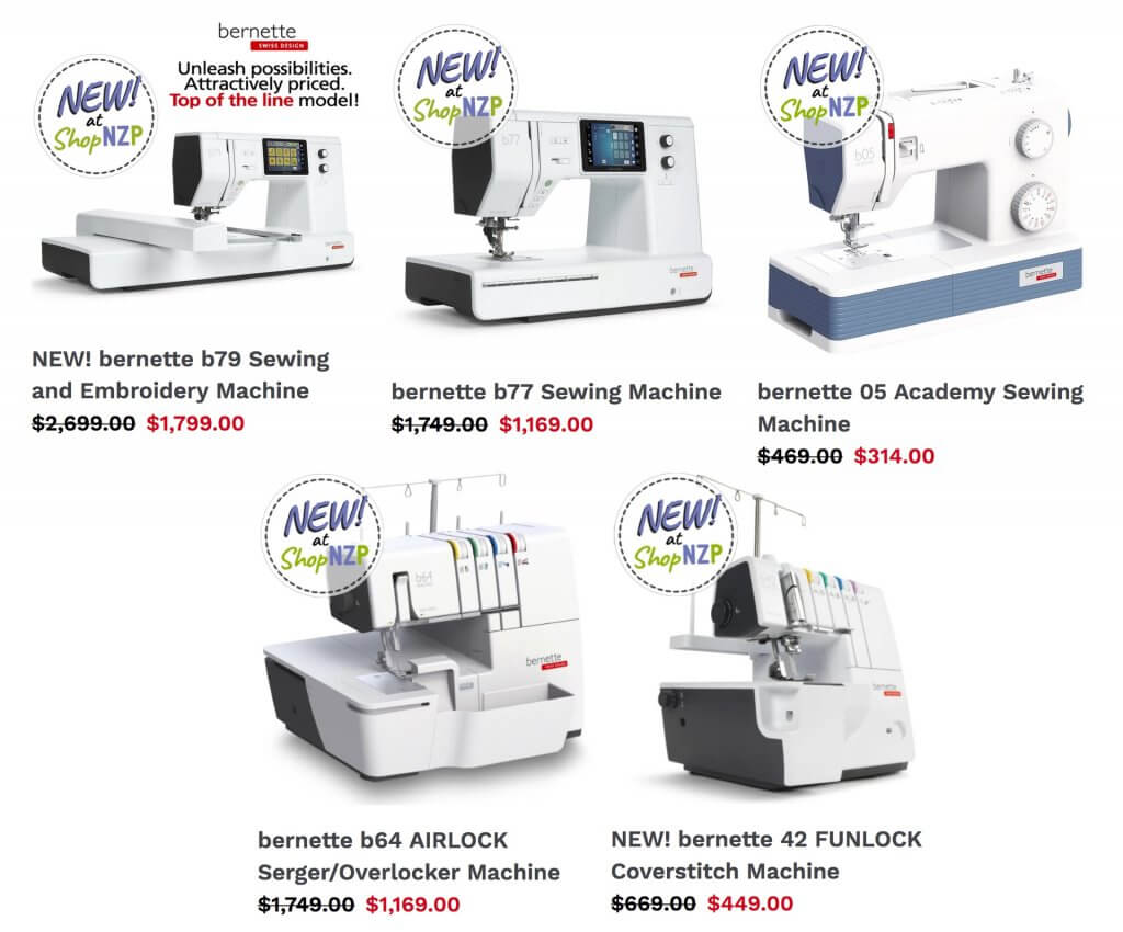 bernette Sewing, Embroidery, Serger Overlock and Coverstitch Machines Now Available at Nancy Zieman Productions at ShopNZP.com