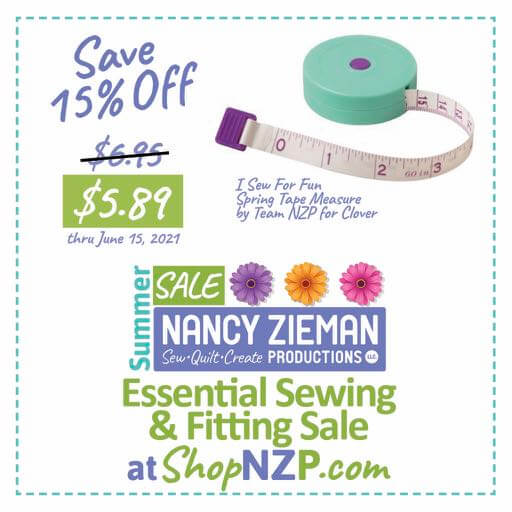 Save 15 Percent on I Sew For Fun Spring Tape Measure by Team NZP for Clover at Nancy Zieman Production at ShopNZP.com thru June 15, 2021