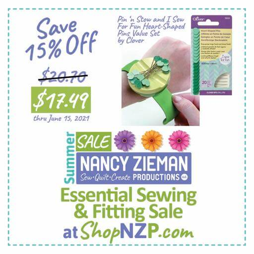 Save 15 Percent on Pin n Stow and I Sew For Fun Heart-Shaped Pins Value Set by Clover at Nancy Zieman Production at ShopNZP.com thru June 15, 2021