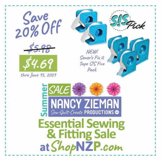 Save 20 Percent on NEW! Sewer's Fix it Tape S!S Five Pack at Nancy Zieman Production at ShopNZP.com thru June 15, 2021