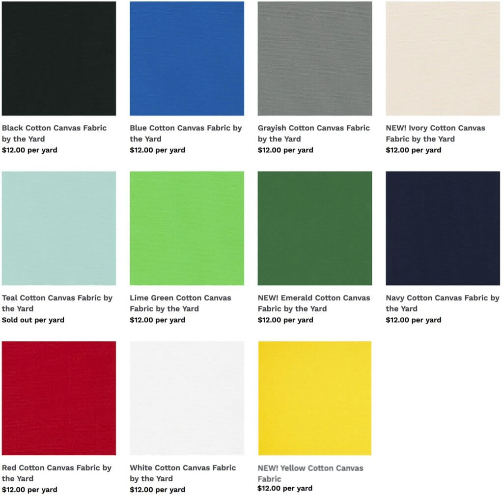 Shop NEW! Cotton Canvas Fabric Colors available at ShopNZP.com