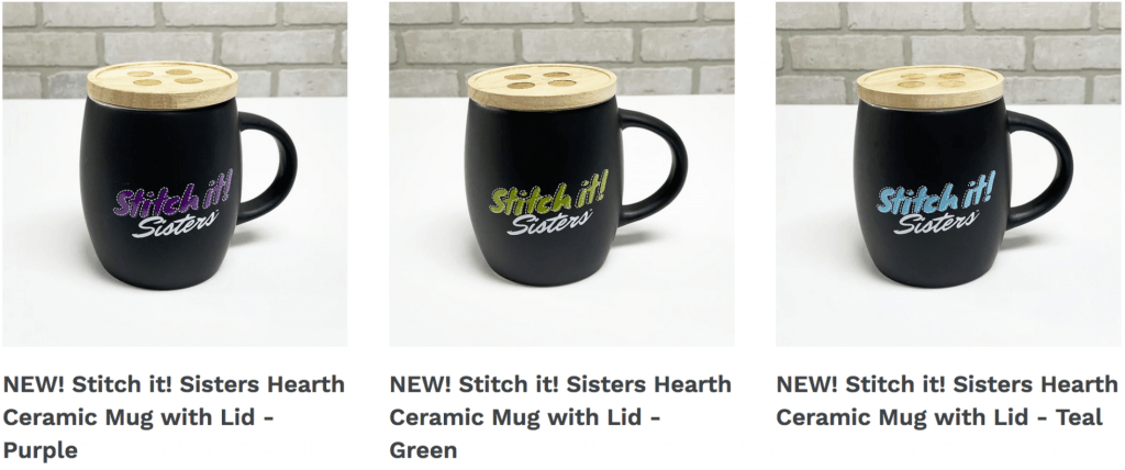 NEW! Stitch it! Sisters Hearth Ceramic Mugs with Lid available at Nancy Zieman Productions ShopNZP.com