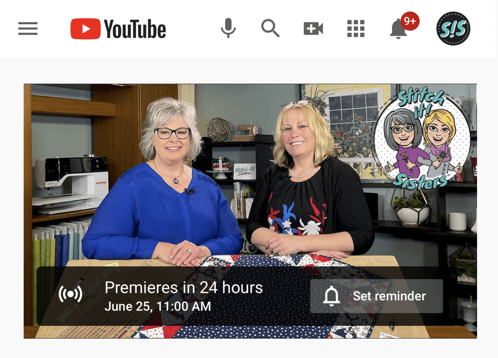 YouTube Watch Party TOMORROW for Sew A Celebration Patriotic Table Runner by the Stitch it! Sisters at Nancy Zieman Productions
