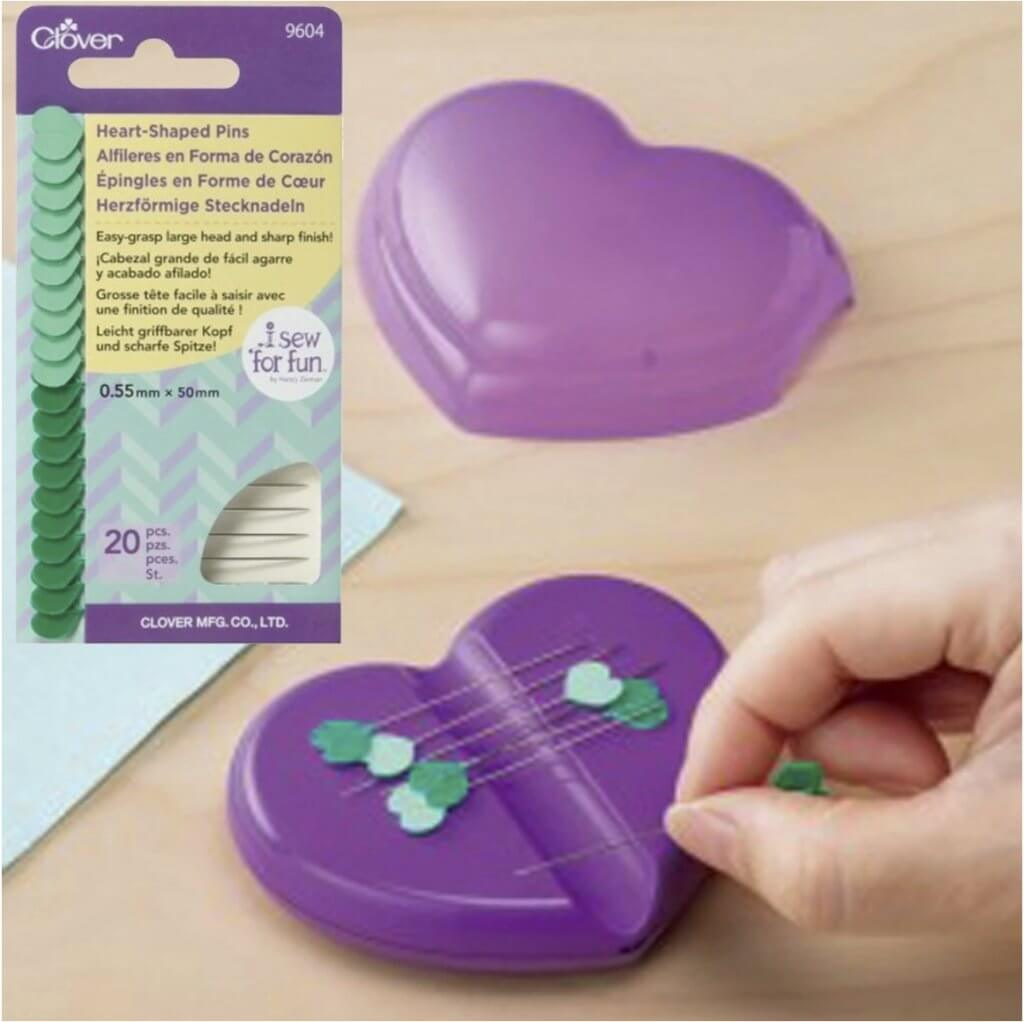 Clover's Heart Shaped Magnetic Pin Caddy and Heart Shaped Pins Available at Nancy Zieman Productions at ShopNZP.com
