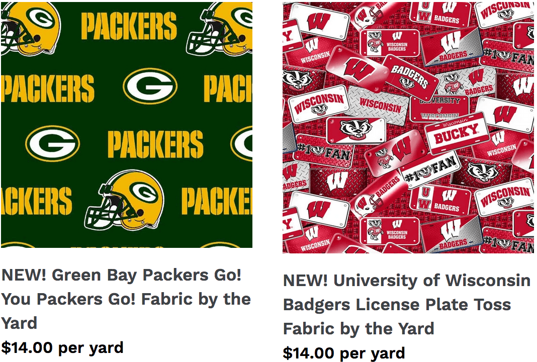 Green Bay Packers and Wisconsin Badgers Quilting Cottons vailable at Nancy Zieman Productions at ShopNZP.com