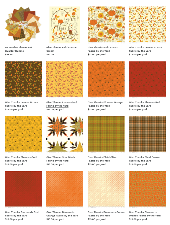 Give Thanks Fabric available at ShopNZP.com at Nancy Zieman Productions