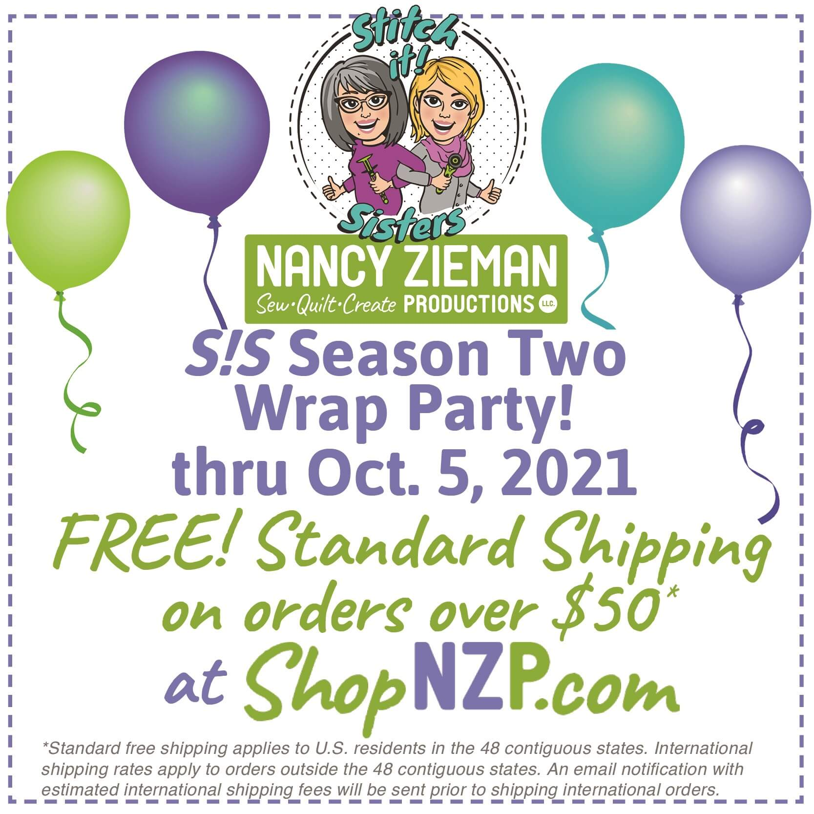 Stitch it Sisters Season Two Wrap Party! thru Oct. 5, 2021 at Nancy Zieman Productions at ShopNZP