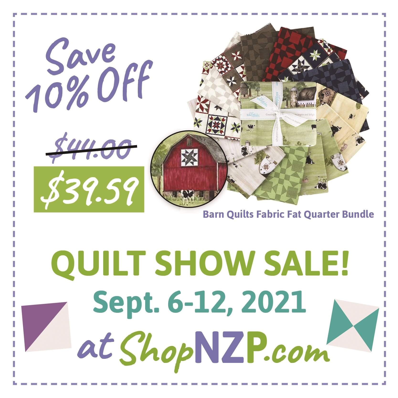 Save 10 Percent off Barn Quilts Fabric Fat Quarter Bundle at Nancy Zieman Productions at ShopNZP