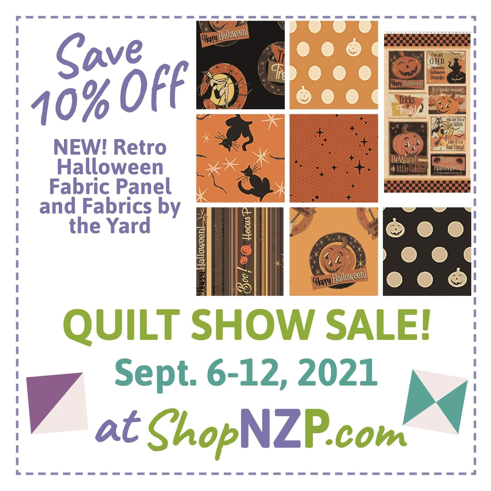 Save 10 Percent off Retro Halloween Fabric Panel and Fabrics at Nancy Zieman Productions at ShopNZP