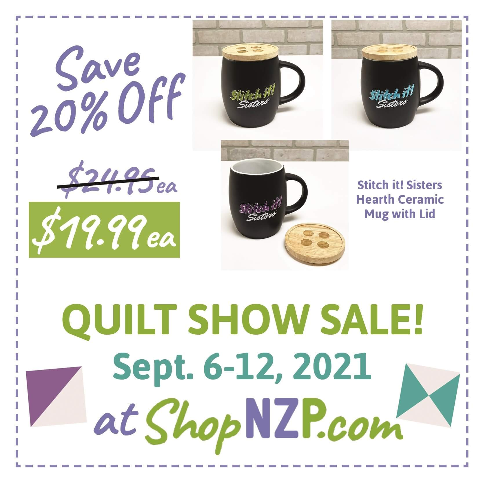 Save 20 Percent off Stitch it! Sisters Hearth Ceramic Mug with Lid at Nancy Zieman Productions at ShopNZP