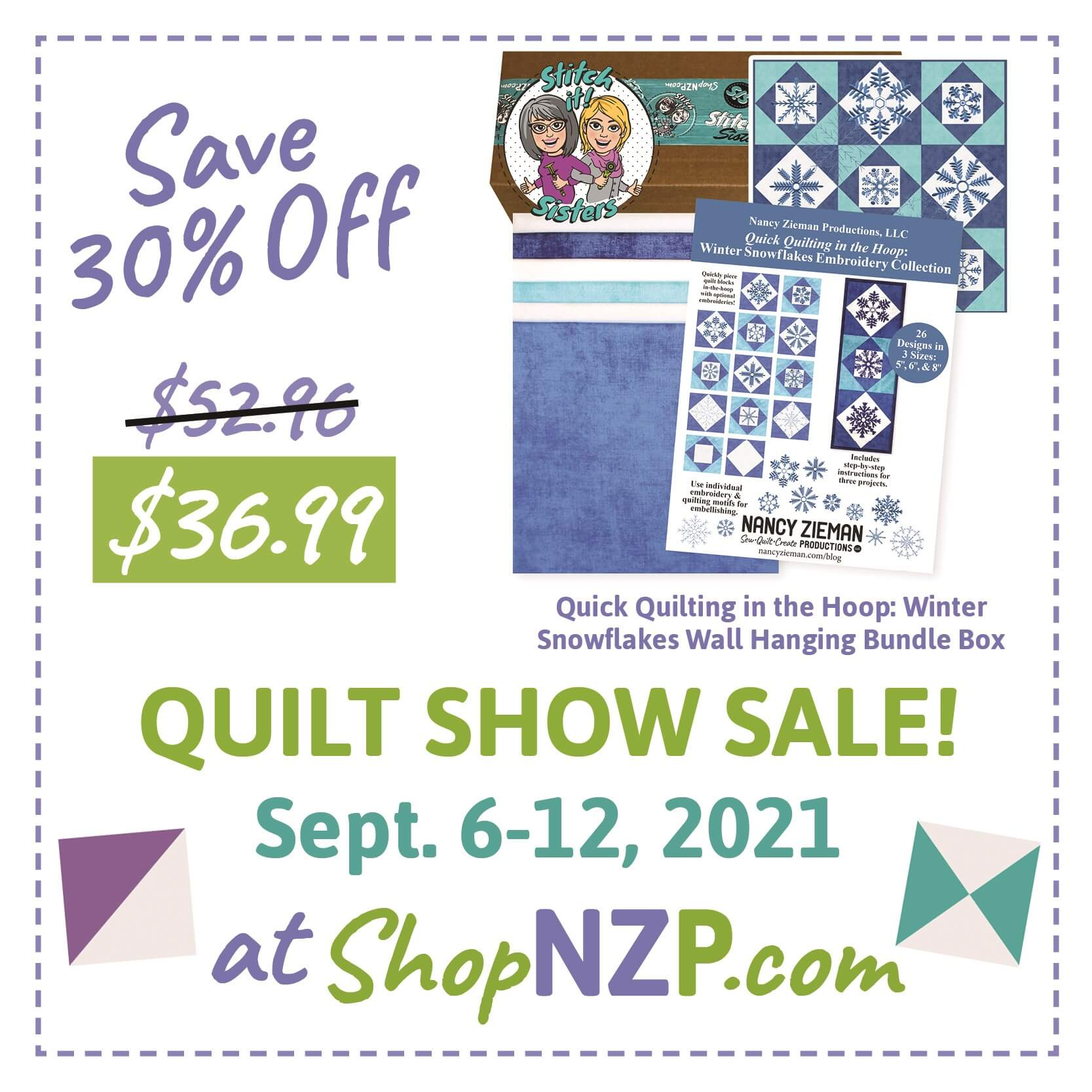 Save 30 Percent off Quick Quilting in the Hoop Winter Snowflakes Wall Hanging Bundle Box at Nancy Zieman Productions at ShopNZP