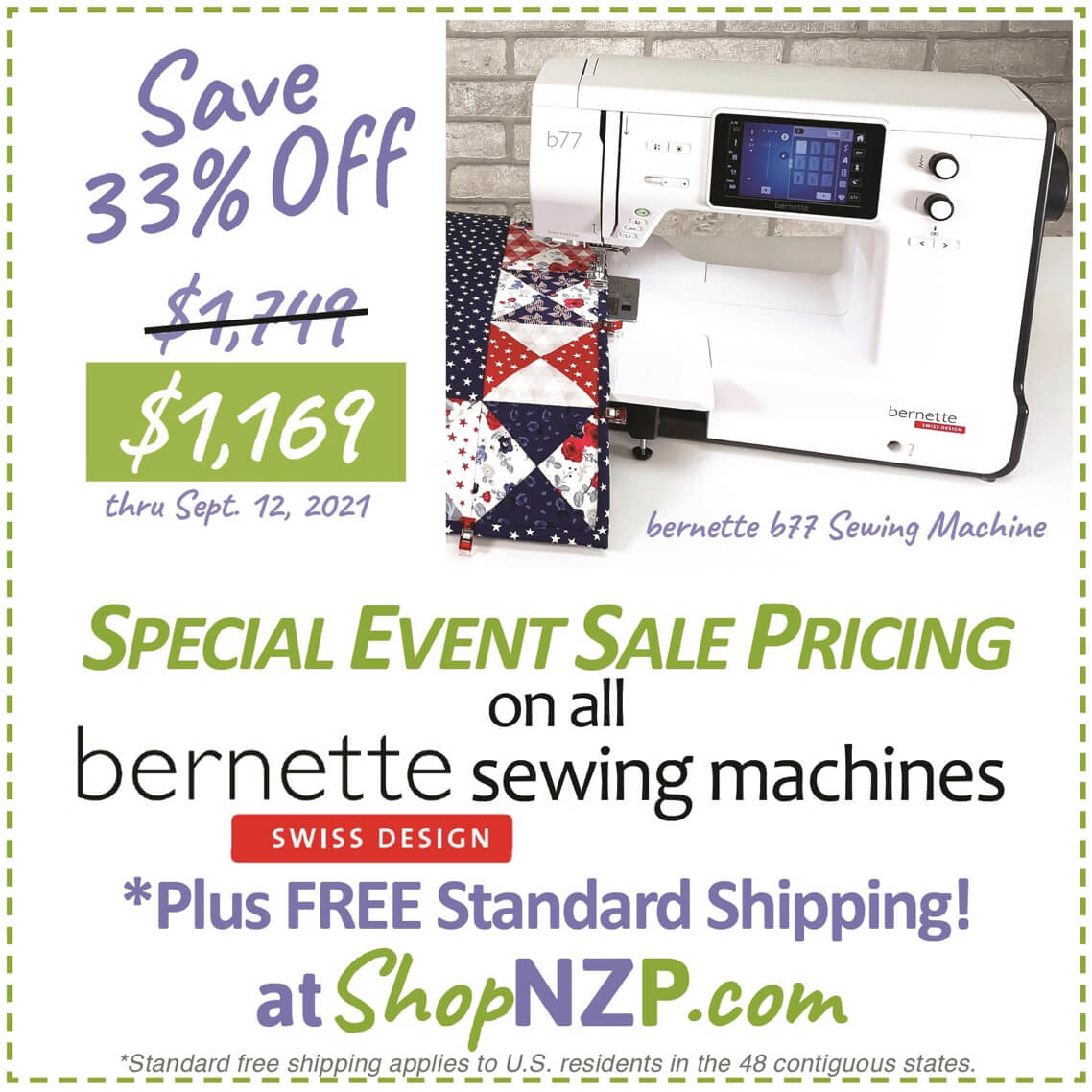 bernette sewing machines available at Nancy Zieman Productions at ShopNZP.com